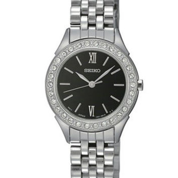 Seiko Swarovski Crystal Dress Watch for Ladies - Black Dial - Steel - Bracelet