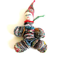 Vintage child's handmade clown rag doll // quilt and feedsack material yo yos