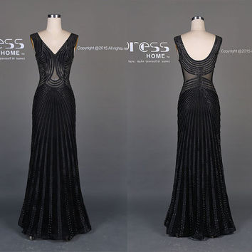 2016 Sexy Black Beading Prom Dress/See Through Long Prom Dress/Slim Prom Dress/Black Prom Dress Mermaid/Prom Dress Long/Evening Dress DH514