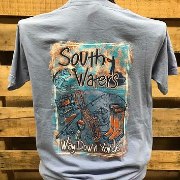 Backwoods South Waters Way Down Yonder Fishing Pocket Comfort Colors Unisex T Shirt