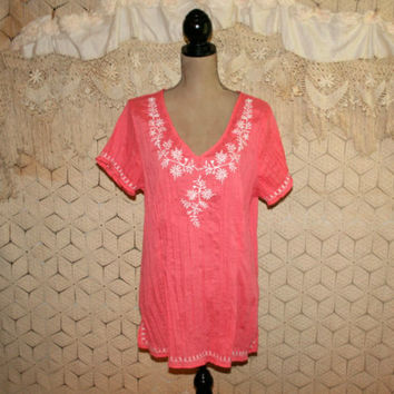 Salmon Pink Top Embroidered Tunic Top Spring Top Summer Top Casual Short Sleeve Peasant Top Bohemian Top 18/20 2X Plus Size Womens Clothing