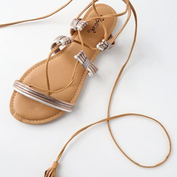 Madigan Camel Suede Lace-Up Flat Sandals