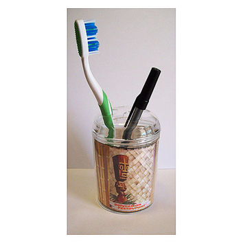 Tiki toothbrush holder retro 1950's vintage hawaii rockabilly bathroom pen holder kitsch