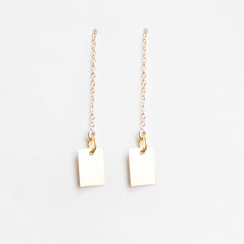 Rectangle Minimal Thread Earrings