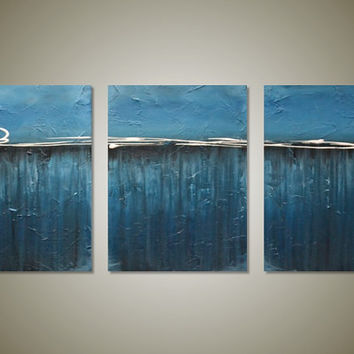 Large Abstract Ocean Triptych Painting - Original Contemporary Textured Art  - Blue Ocean - 3 Canvas of 12 x 16 - Pacific - FREE SHIPPING