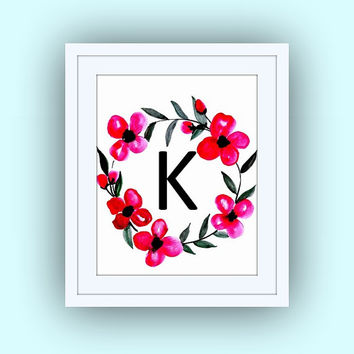 Printable monogram letter, K, floral RED wall art, baby boy girl Name initial, print custom, personal letters, Nursery decor, digital BLACK