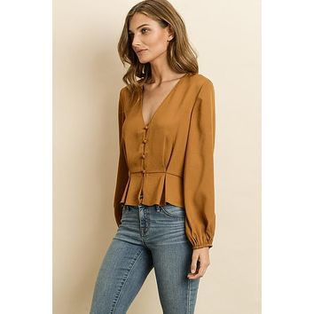 Button Down Pleated Blouse - Mustard