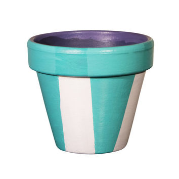 Blue Flower Pot - 6 Inch Terracotta Pot Stripes, Birthday, Housewarming, Wedding, Christening Gift- Made to Order