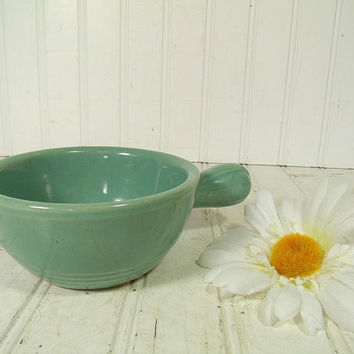 Vintage Fiesta Style Sea Foam Green Ceramic Soup Bowl with Handle - Antique Pottery Aqua Blue Bowl - Retro Homer Laughlin Look China Server