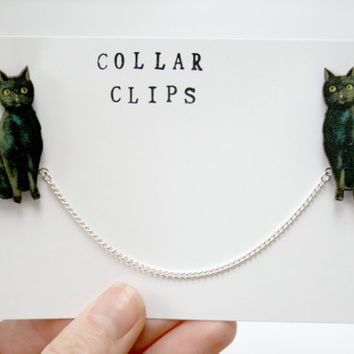 Black Cat Wooden Collar Clips by ladybirdlikes on Etsy