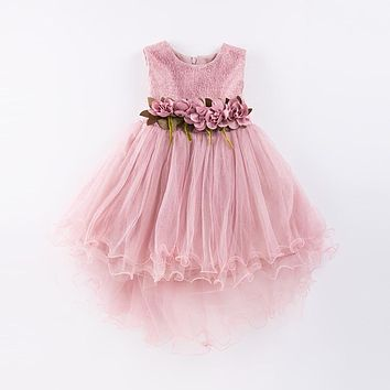 Girl Dress Mermaid Tulle Wedding Party Dress 2017 Summer Princess Dresses Clothes Ball Gown with Flowers Size 4-9T pink green