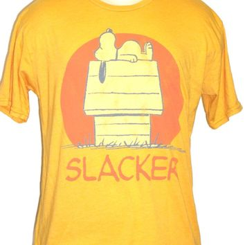 Peanuts Comic Strip Vintage T-shirt - Snoopy Dog Slacker | Men's Yellow Shirt by Junk Food