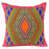 """Pink and Green Moroccan Decorative Couch Cushion Pillow Cover - 16"""""""
