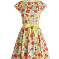 ModCloth Vintage Inspired Long Cap Sleeves A-line Haute Floats Dress
