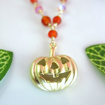 Halloween pumpkin orange carnelian gold necklace
