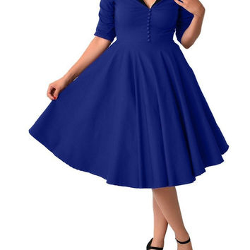 Womens Dresses 2016 Robe Pinup Big Swing Long Sleeve 50s Vintage Dress Black Women Winter Autumn Female Party Plus size clothing