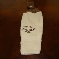Embroidered Brown Dachshund Hanging Dish Towel With Hand Knit Topper