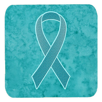 Set of 4 Teal Ribbon for Ovarian Cancer Awareness Foam Coasters AN1201FC