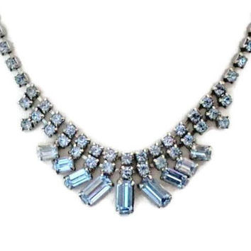 Light Blue Rhinestone Bib Necklace, Prom, Bridal Jewelry
