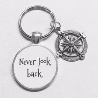 Compass Never Look Back Best Friend Sister Graduation Gift Keychain