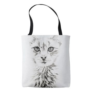 Drawing of White Cat Animal Art on Tote Bag