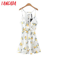 Tangada Lemon Print Ruffles Dress Women Summer Sexy Backless Spaghetti Strap Mini Dresses Casual Brand Female Vestidos XL52