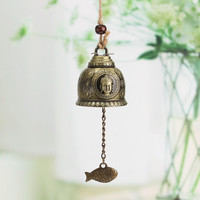 Vintage Buddha Statue Pattern Bell Blessing Feng Shui Wind Chime for Good Luck Fortune Home Car Crafts Hanging Decoration Gift