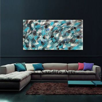 "Oil painting, Jackson Pollock style Turquoise 48"" Abstract Art on Canvas by Nandita Albright, Original handmade Office Decor for Sale"