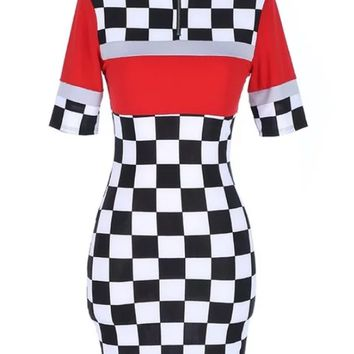 Moto Raceway Checker Dress