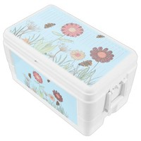 Simple painted floral pattern marsala light blue cooler