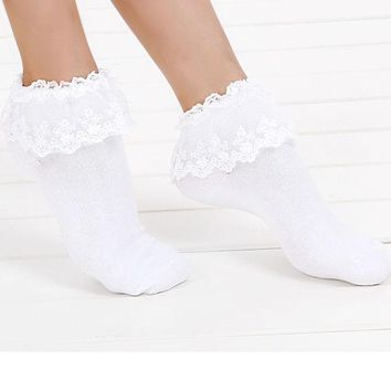 DCCKL3Z 1 Pair 7 Colors Princess Girl Cute Sweet Women Ladies Vintage Lace Ruffle Frilly Ankle Socks CB