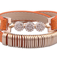 Free shipping Genuine Leather 18 Gold Plated Bracelet With Crystal Fashion Jewelry for Women and Men Best Friend Gift Birthday ALX-SCJS ALX-SCJS