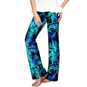 Electric Jungle Amelia Green Printed Palazzo Pant - Women