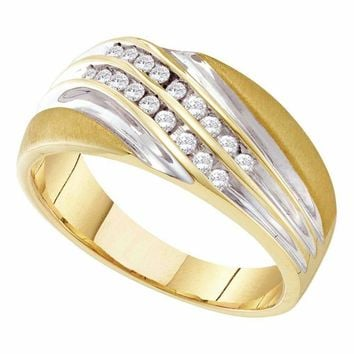 10kt Yellow Two-tone Gold Men's Round Channel-set Diamond Diagonal Double Row Wedding Band 1/4 Cttw - FREE Shipping (US/CAN)