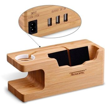 VONL8T Tendak Apple Watch Charging Stand - with 3 USB Port Bamboo Wood USB Charging Station for 38mm and 42mm Apple Watch & iPhone 6 6 plus 5S 5 7 7 plus and Other Smartphone