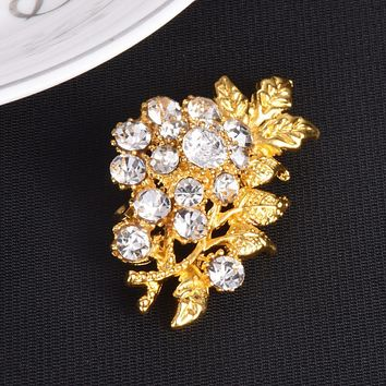 Pearl Pin Rhinestone Brooch Scarf Clip Clothing Crystal Pin Flower Brooch Glod