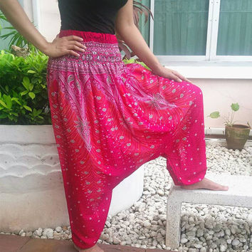 Pink Jumpsuit & Pants Peacock Aladdin Drop Crotch Yoga Beggy Harem Printed Sarongs Tribal Hippie Rayon pants Gypsy Thai Handmade Plus Size