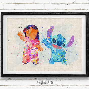 Lilo and Stitch Watercolor Print, Disney Baby Girls Nursery Decor, Wall Art, Home Decor, Gift Idea, Not Framed, Buy 2 Get 1 Free!