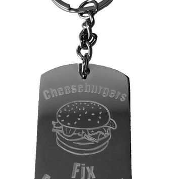Cheeseburgers Fix Everything Metal Ring Key Chain Keychain