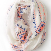 AEO Women's Embroidered Loop Scarf (Chalk)