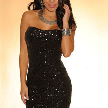 Black Sequins Strapless Back Zipper Dress