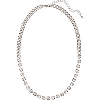 H&M - Short Rhinestone Necklace - Silver - Ladies