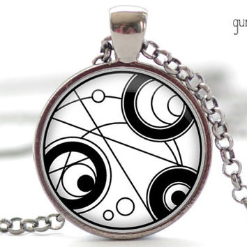 Gallifreyan Pendant, Doctor Who Necklace, Doctor Who Charm, Your Choice of Finish (1235)
