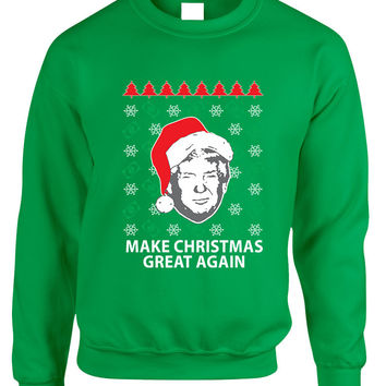 Adult Sweatshirt Donald Trump Make Christmas Great Again Ugly Xmas