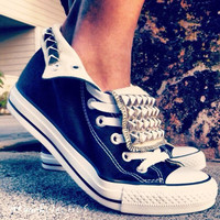 Studded Chucks by DopestBoutique on Etsy