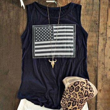 Women Tank O-Neck American Flag Printed Casual Sleeveless Oversize Tops Cropped Top Summer 2017 Girls Soft Casual Loose 3XL