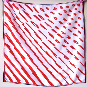 """Vintage Vera Scarf, Vera Neumann Scarf, 21"""" Square Scarf, Red White and Blue Scarf, Nautical Scarf, Vintage Headscarf, Accessories Women"""