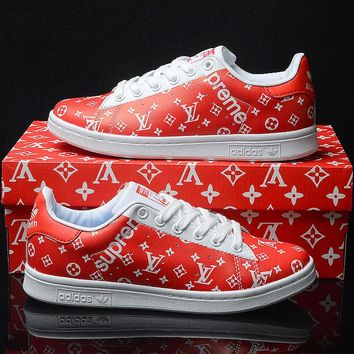 Best Online Sale LV x Supreme x Adidas Originals Customise Stan Smith Red White Casual Shoes