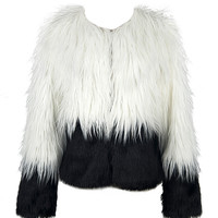 Two Tone Shaggy Faux Fur Coat - Choies.com