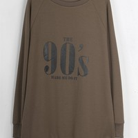Cupshe The 90s Letter Printing Long Sweatshirt